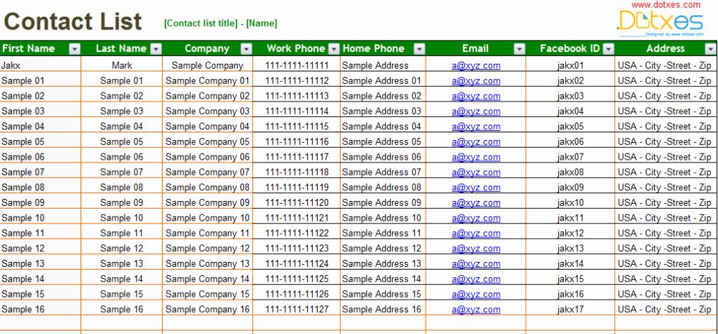 Customer Contact List Template New Basic Contact List Template Dotxes
