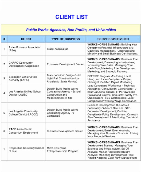 Customer Contact List Template Unique Client List Template 9 Free Word Pdf format Download