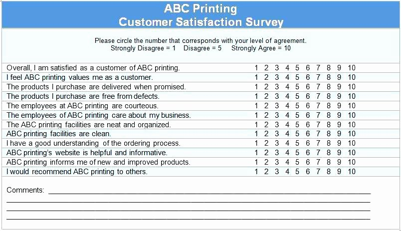 Customer Satisfaction Survey Template Word Inspirational Customer Satisfaction form Template Questionnaire Survey