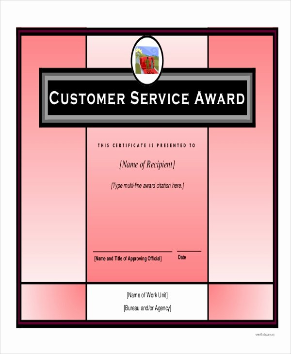 Customer Service Award Template Best Of 6 Sample Award Certificates