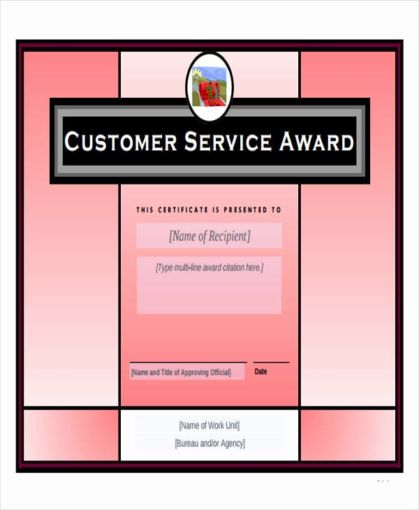 Customer Service Award Template Inspirational 43 Printable Award Certificates Word Psd Ai Eps Vector