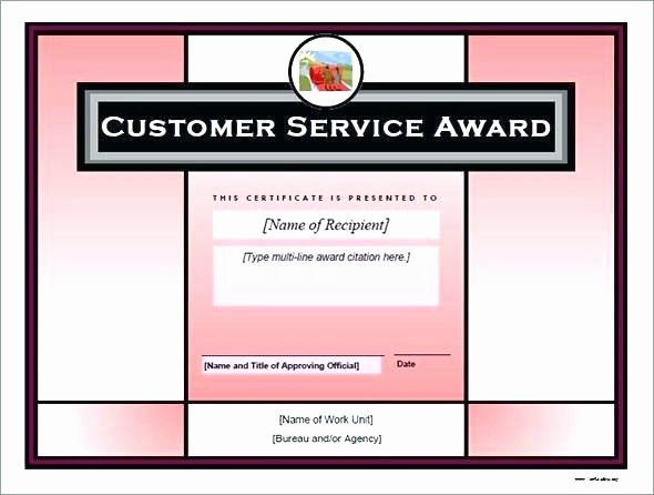 Customer Service Award Template Inspirational Customer Service Certificate Template Customer Service
