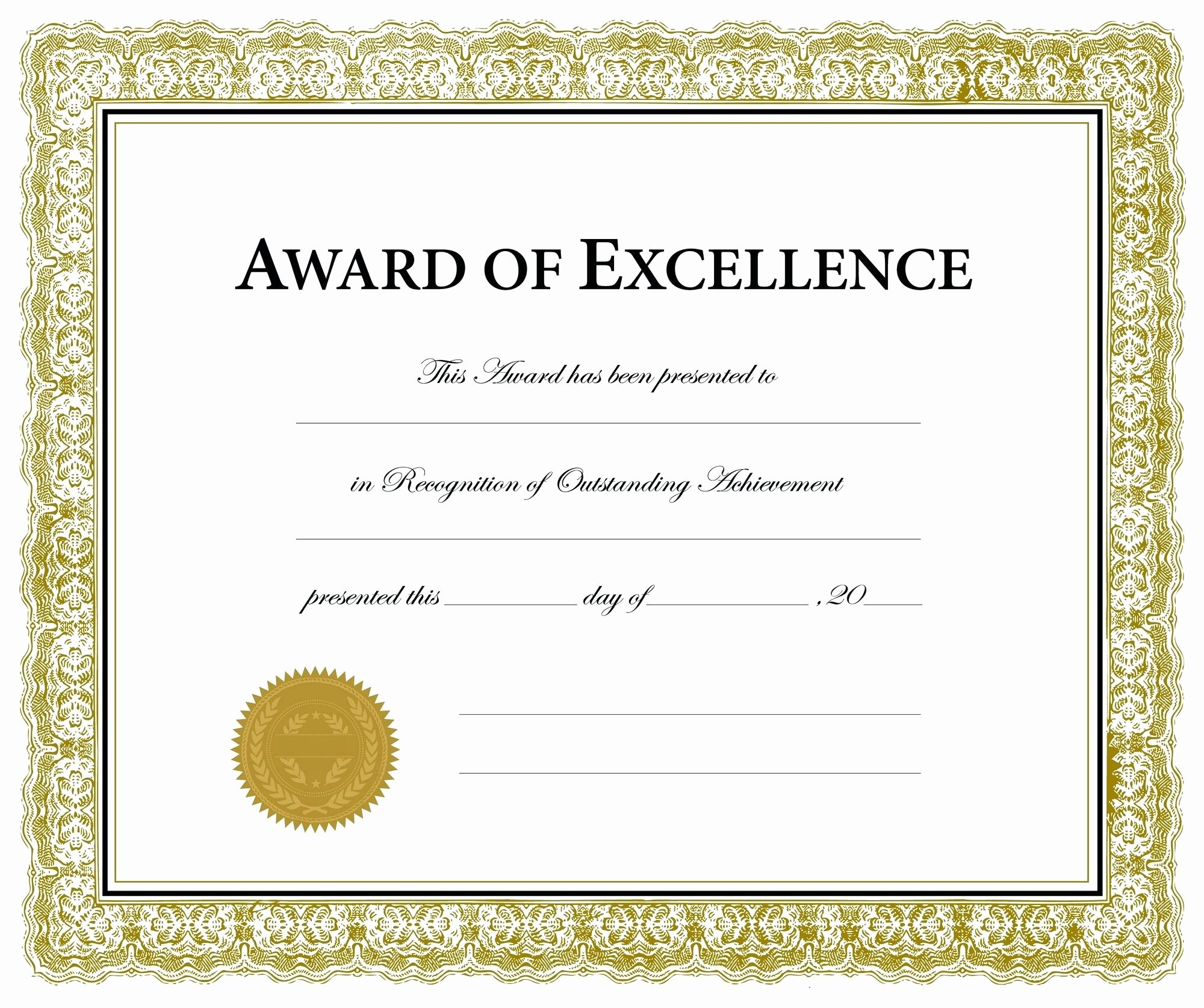 Customer Service Award Template Inspirational Template Award Excellence Template