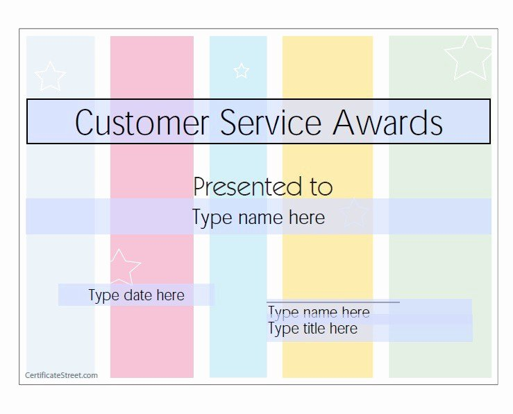 Customer Service Award Template Lovely 50 Amazing Award Certificate Templates Template Lab
