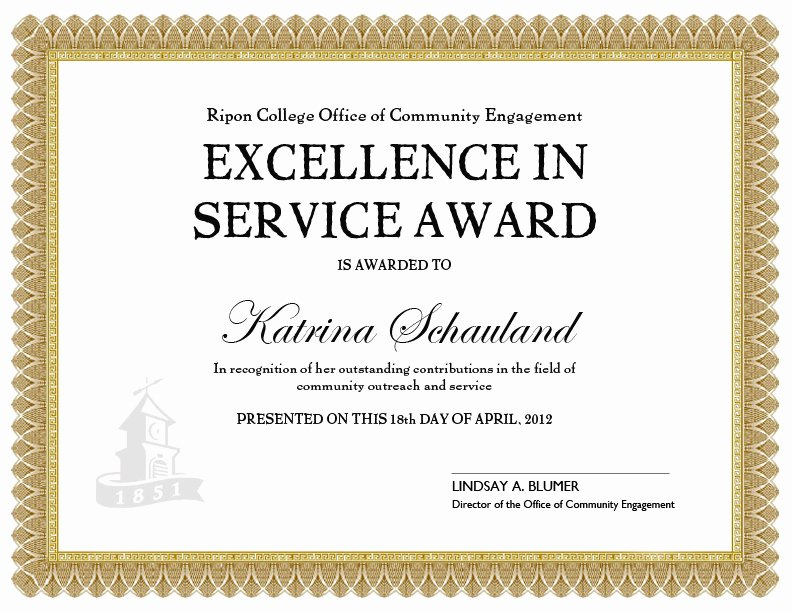 Customer Service Award Template Luxury Doing More to Her 04 01 2012 05 01 2012