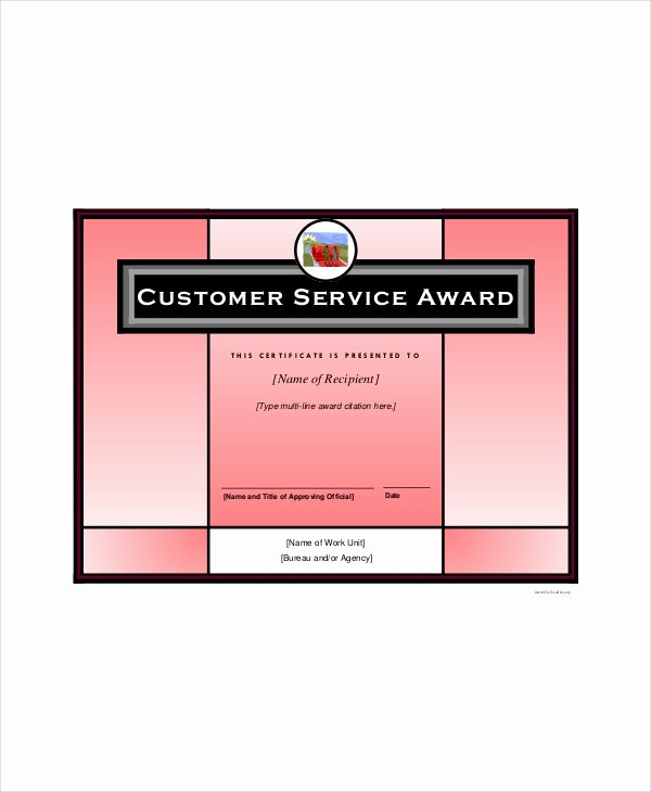 Customer Service Award Template New Award Template 4 Free Pdf Documents Download