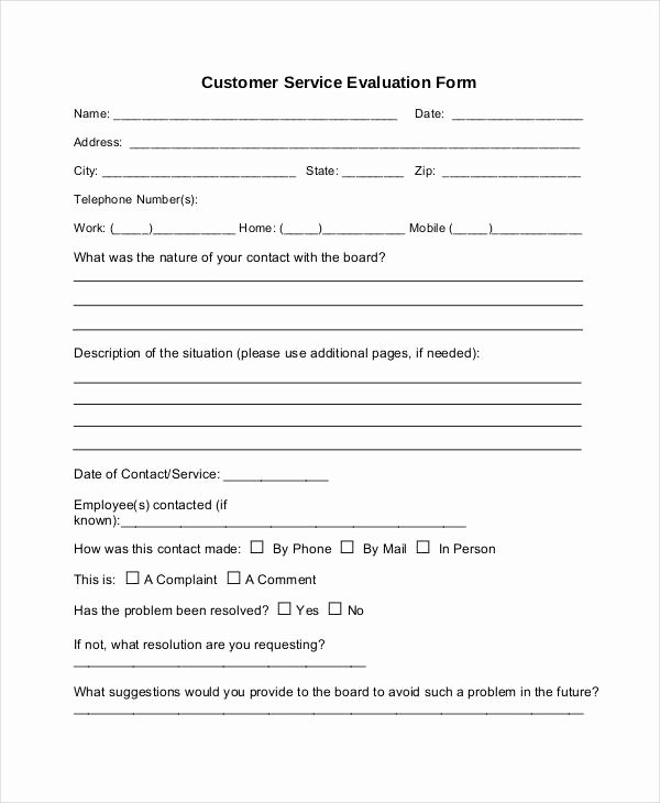 Customer Service Performance Review Template Awesome Service form Template