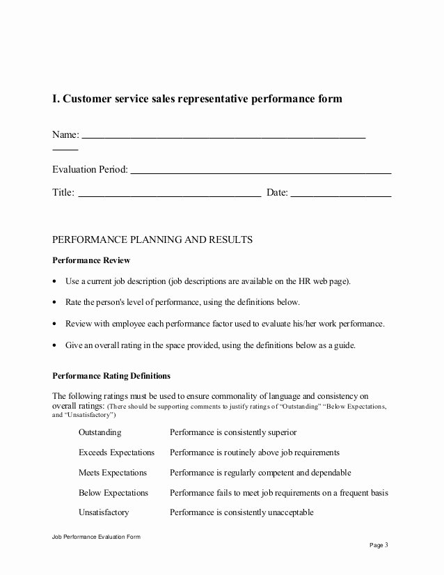 Customer Service Performance Review Template Best Of Customer Service Sales Representative Performance Appraisal