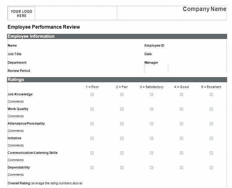 Customer Service Performance Review Template Best Of Employee Performance Review form Template Objectives
