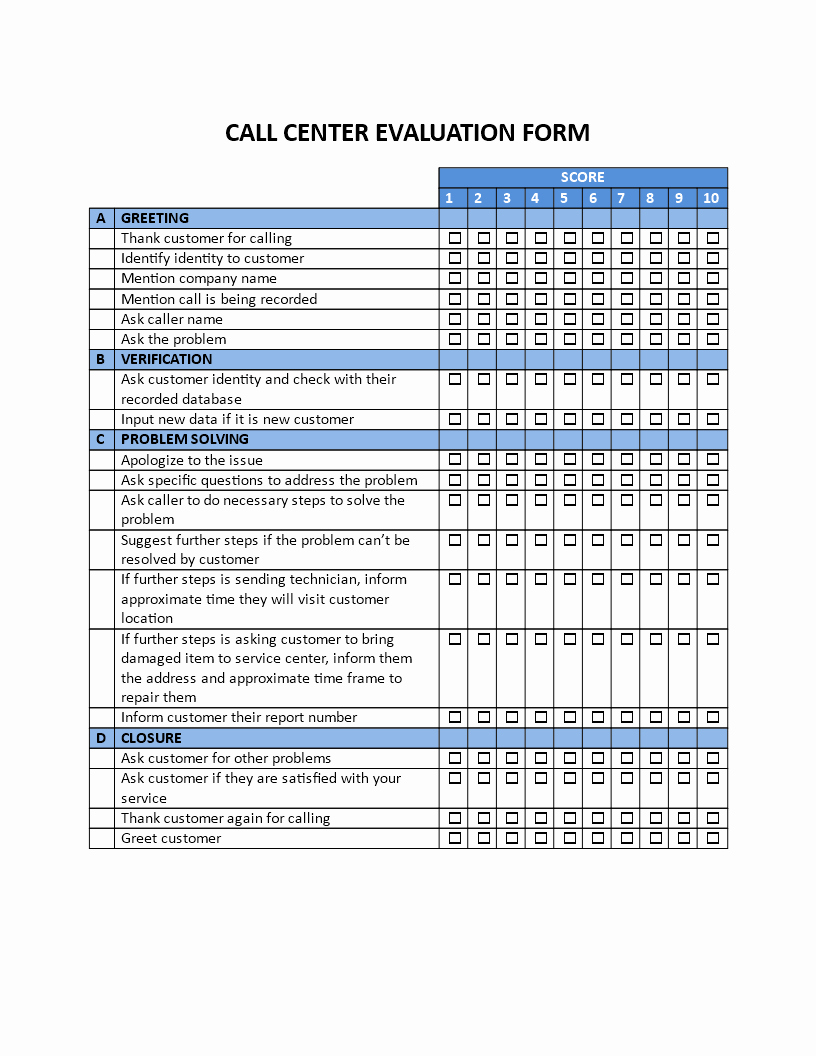 Customer Service Performance Review Template Best Of Free Call Center Evaluation form