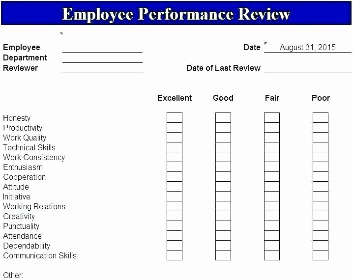 Customer Service Performance Review Template Inspirational Workplace Performance Review Template Employee