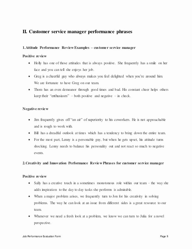 Customer Service Performance Review Template Unique Customer Service Manager Performance Appraisal
