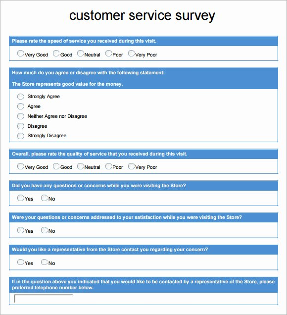 Customer Service Survey Template Awesome 6 Sample Customer Survey Templates to Download