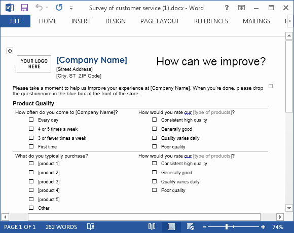 Customer Service Survey Template Awesome Customer Service Template for Word