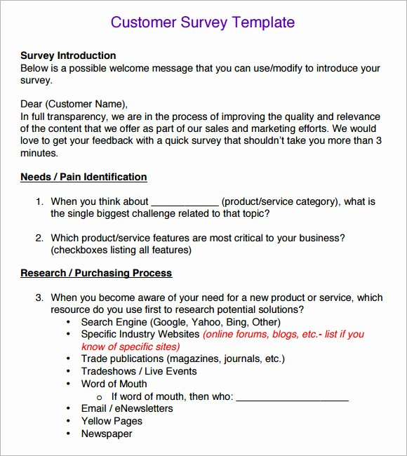 Customer Service Survey Template Elegant 6 Sample Customer Survey Templates to Download