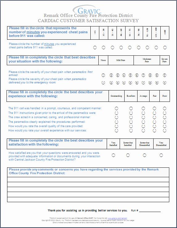 Customer Service Survey Template Inspirational Cardiac Customer Satisfaction Survey · Remark software