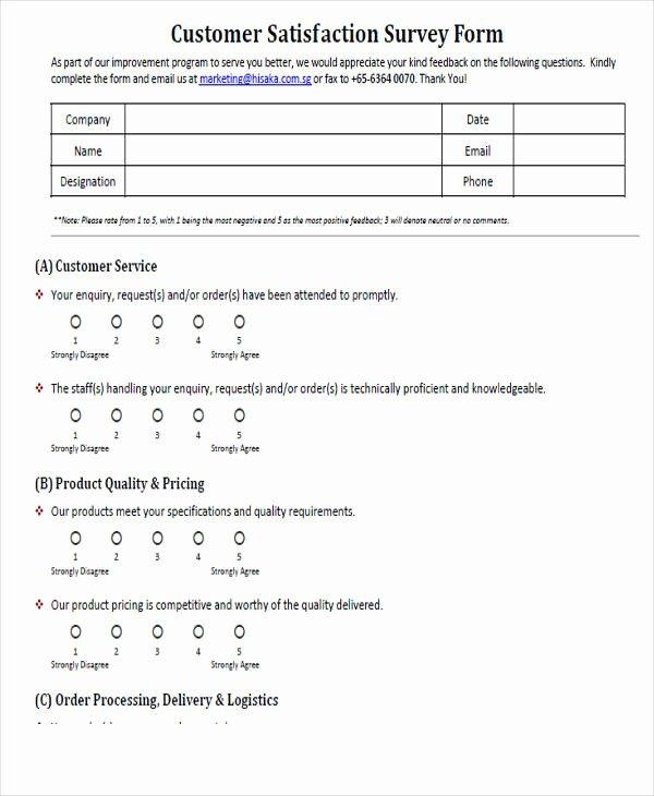 Customer Service Survey Template Luxury 54 Printable Survey forms