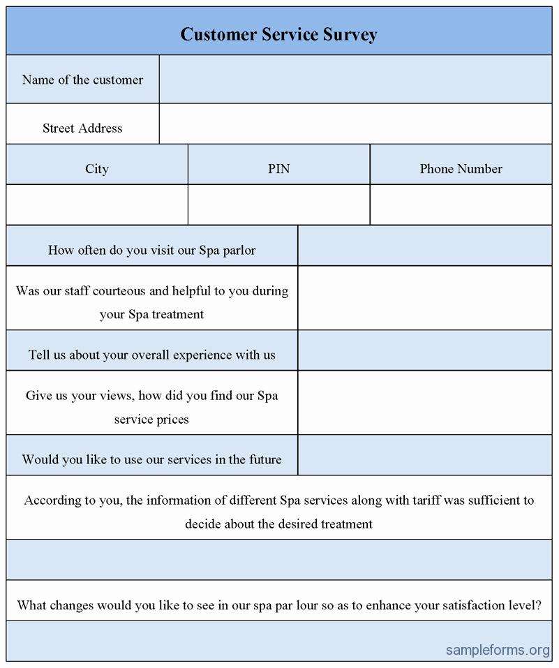 Customer Service Survey Template Unique Customer Service Survey form Sample forms