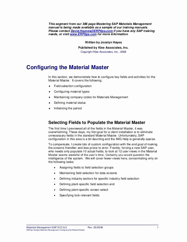 Customer Service Training Manual Template Best Of Er Ptips Sap Training Manual Sample Chapter From Materials