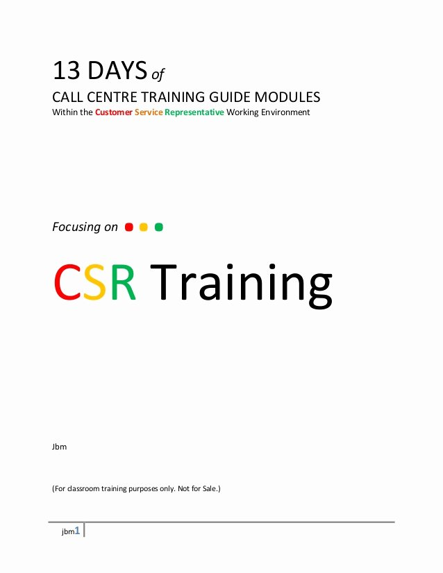 Customer Service Training Manual Template Luxury 13 Days Call Center Training Module