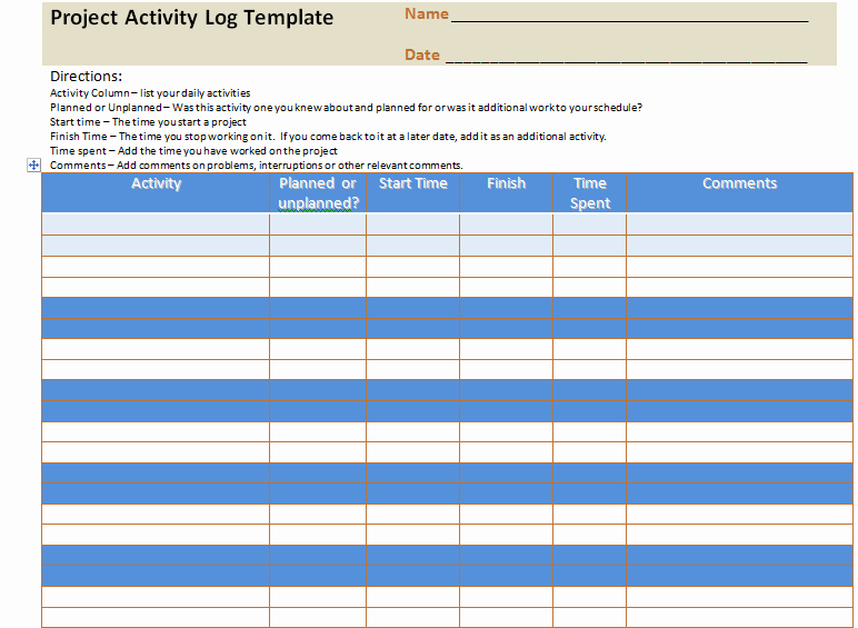 Daily Activity Report Template Excel Best Of Project Activity Log Excel Template – Project Management