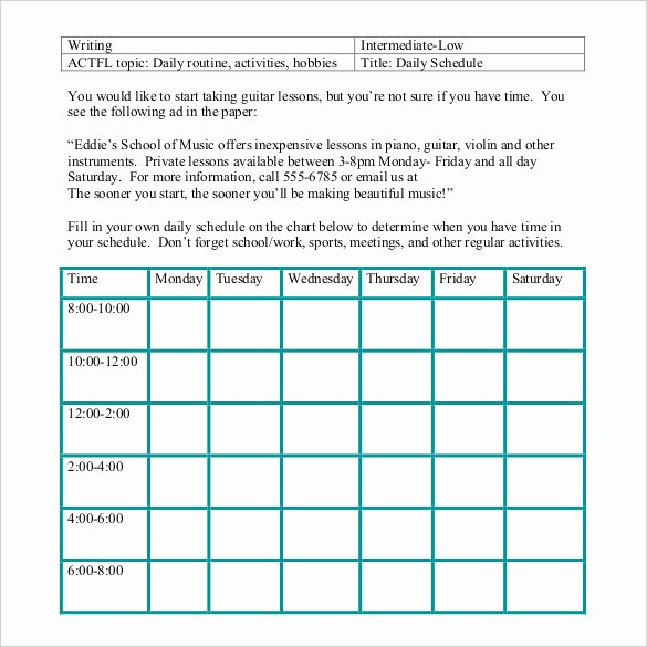 Daily Activity Schedule Template Beautiful Daily Schedule Template 37 Free Word Excel Pdf