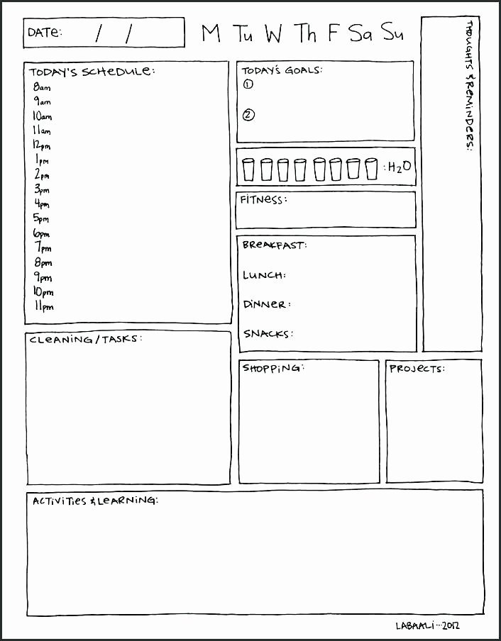 daily activity planner template