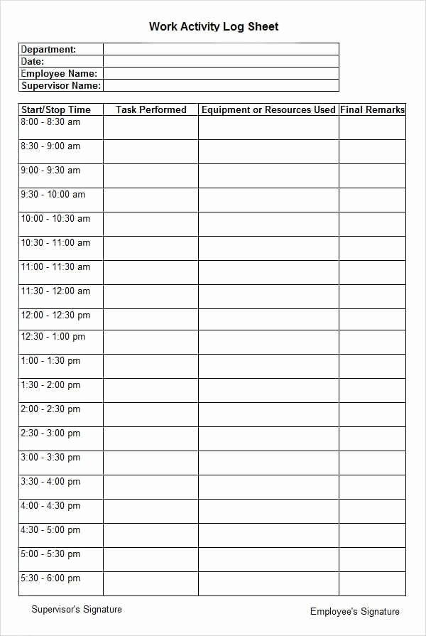 Daily Activity Schedule Template Elegant 10 Daily Activity Log Templates Word Excel Pdf formats