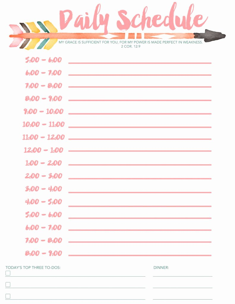 Daily Activity Schedule Template Inspirational 7 Daily Schedule Templates Excel Pdf formats