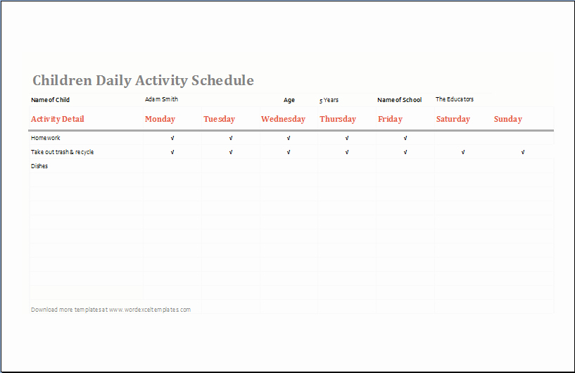 Daily Activity Schedule Template Lovely Children Daily Activity Schedule Template Ms Excel
