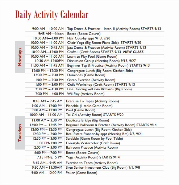 Daily Activity Schedule Template Luxury Weekly Activity Calendar Template Bing Images
