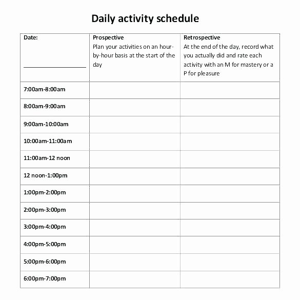 Daily Activity Schedule Template Unique Daily Activity Schedule Template – Hazstyle
