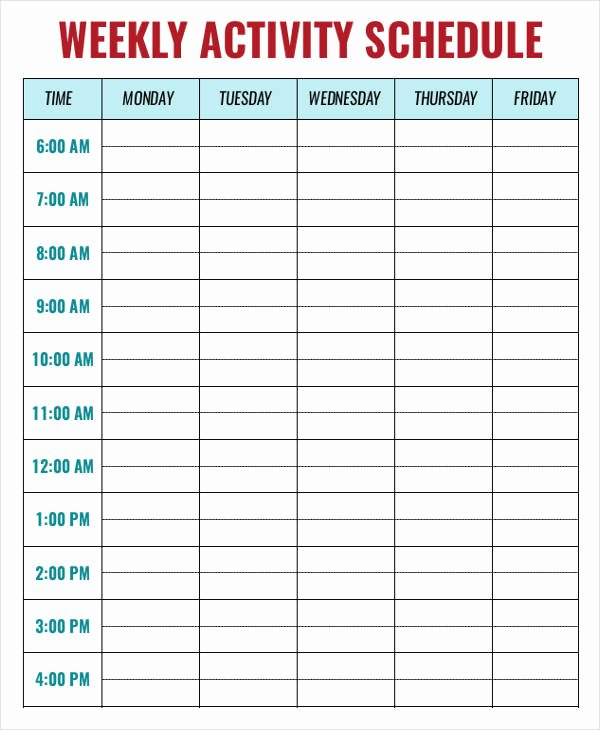 Daily Activity Schedule Template Unique Daily Weekly Monthly Tasks Template Baskanai