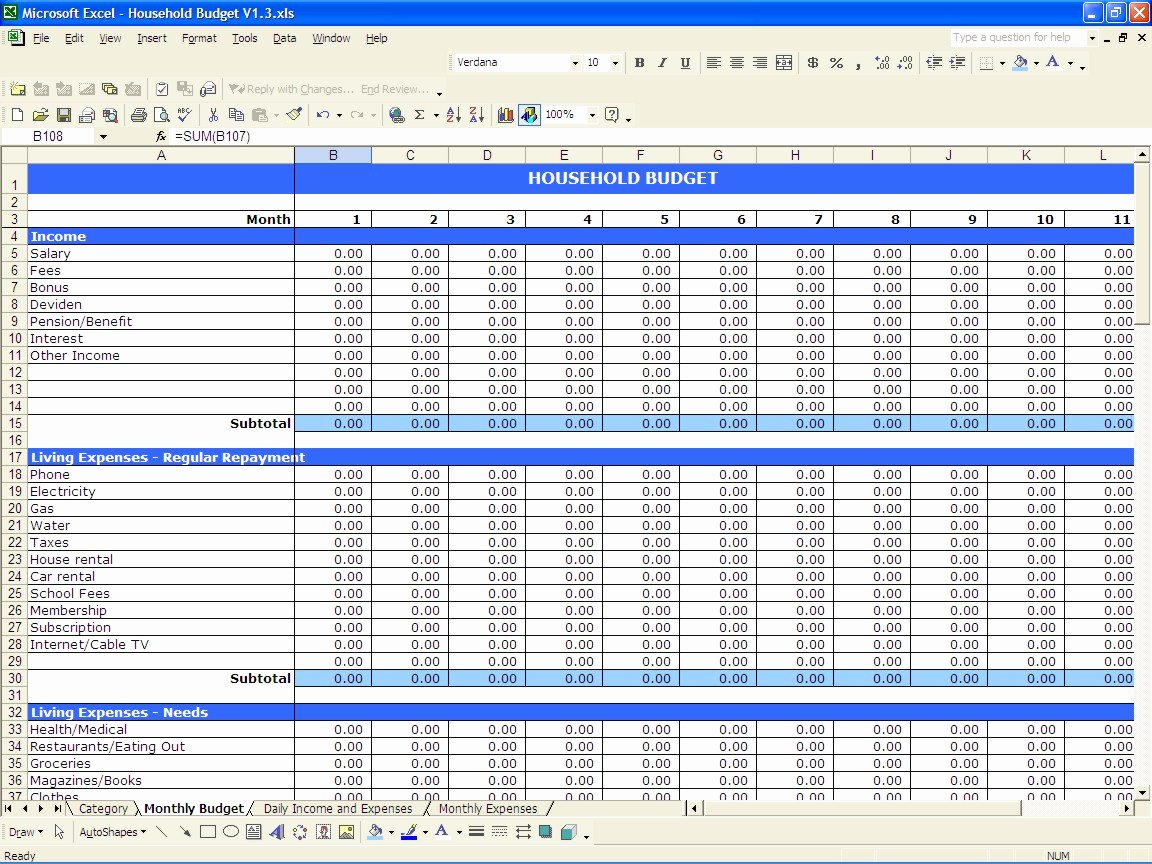 Daily Budget Template Excel Beautiful Household Bud