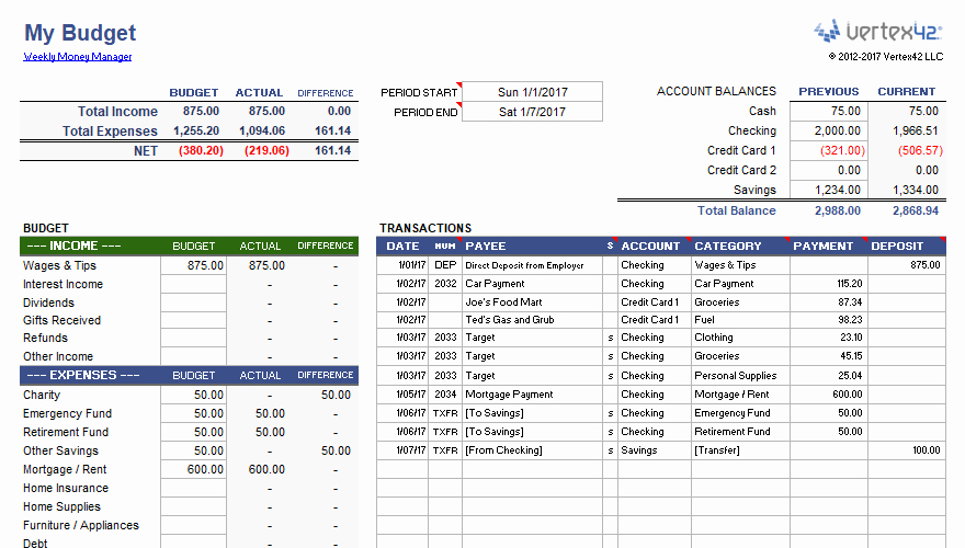 Daily Budget Template Excel Luxury Weekly Bud Planner and Money Manager
