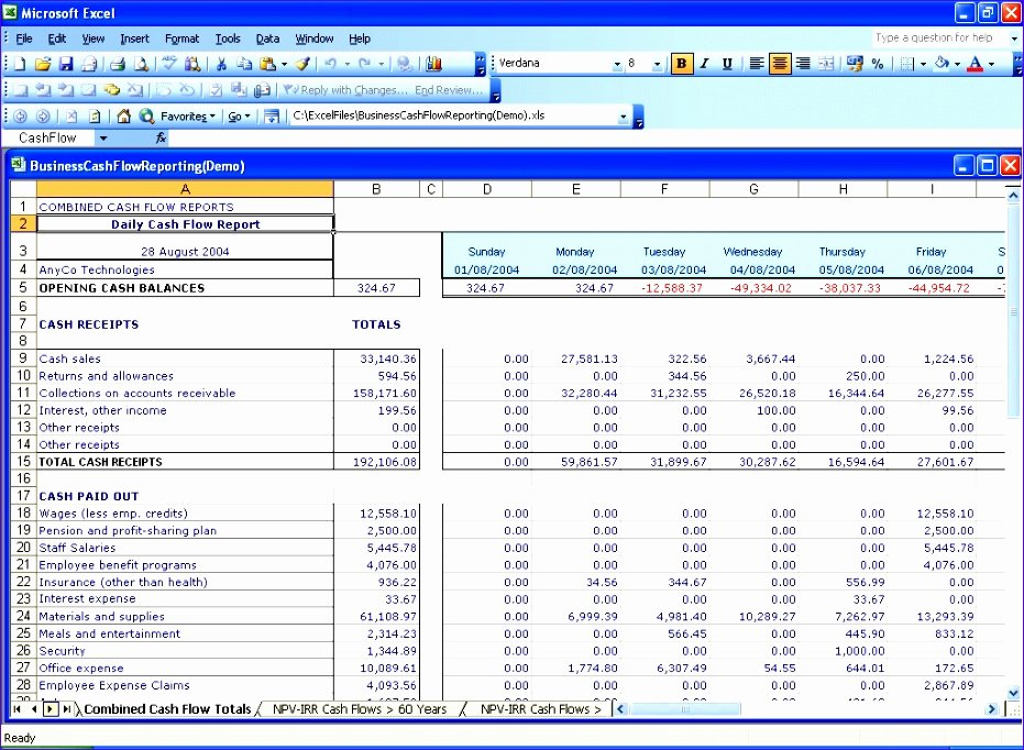 Daily Cash Flow Template Best Of 6 Cash Flow Template for Excel Exceltemplates