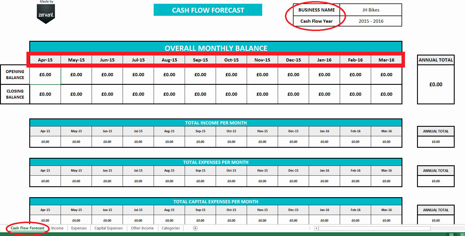 Daily Cash Flow Template New Free Uk Cash Flow Template Zervant Blog