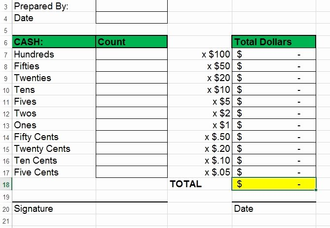 Daily Cash Reconciliation Template Beautiful Cash Drawer Balancing Sheet
