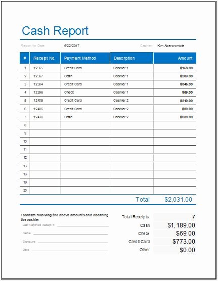 Daily Cash Report Template Best Of Cash Log Templates for Ms Excel