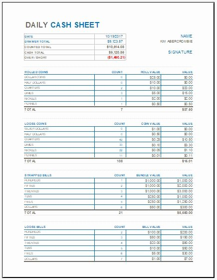 Daily Cash Report Template Best Of Daily Cash Sheet Template for Ms Excel