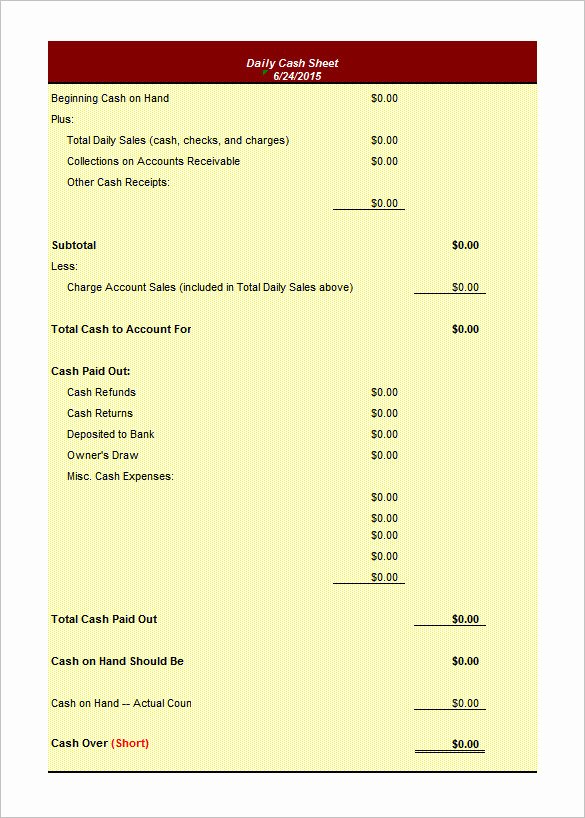 Daily Cash Sheet Template Excel Best Of 8 Daily Worksheet Templates – Free Word Excel Documents