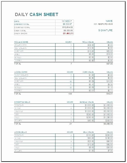 Daily Cash Sheet Template Excel Elegant Daily Balance Sheet Template Excel Restaurant Shift