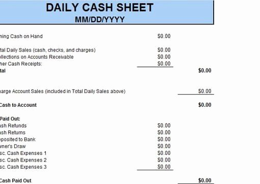 Daily Cash Sheet Template Excel Fresh Give You the Daily Cash Sheet Excel Template by Richardandrews