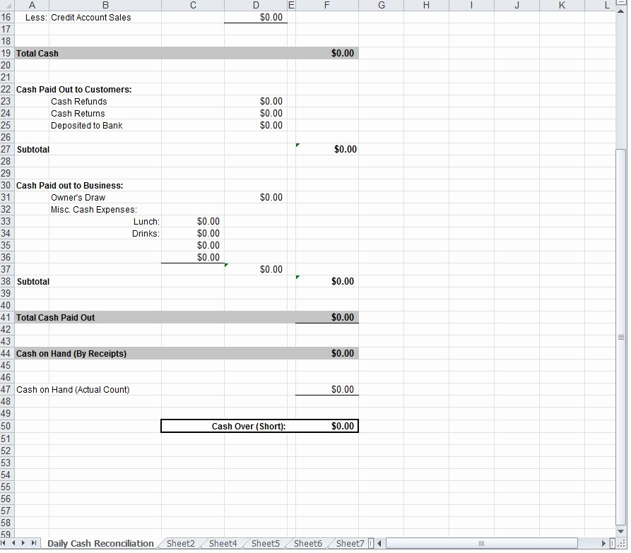Daily Cash Sheet Template Excel Luxury Daily Cash Sheet
