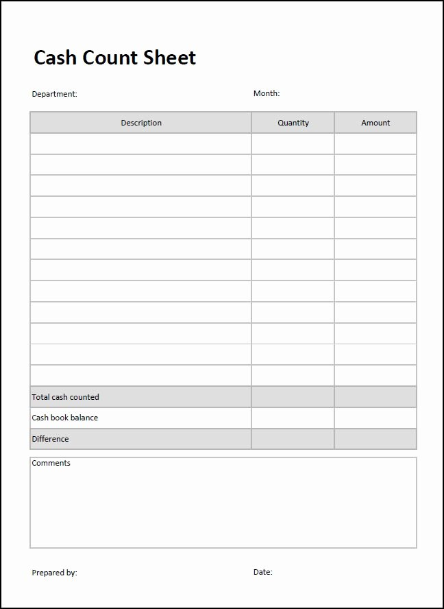 Daily Cash Sheet Template Excel Unique Cash Count Sheet