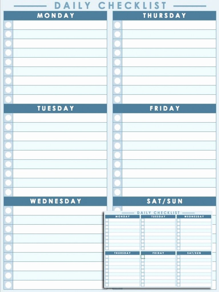 Daily Checklist Template Excel Best Of Free Printable Daily to Do Checklist Monday Through Friday