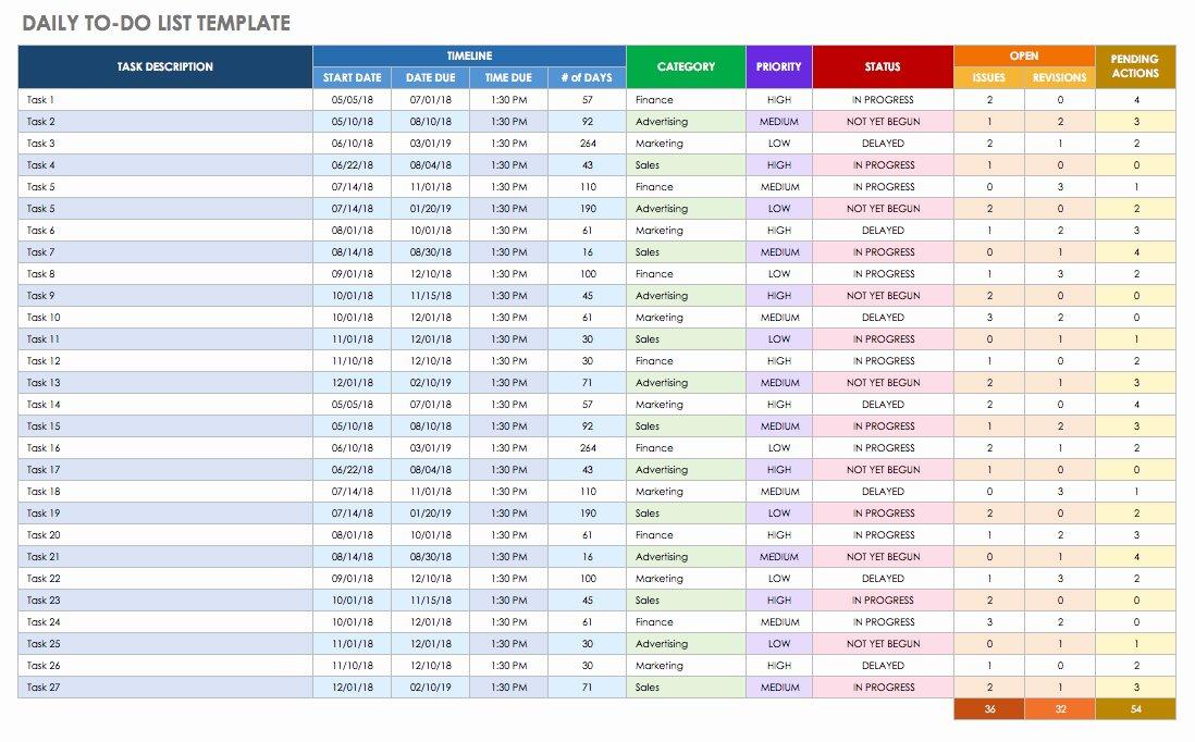 Daily Checklist Template Excel Fresh Free Printable Daily Calendar Templates