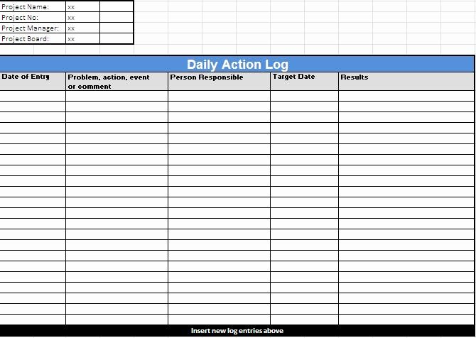 Daily Log Template Excel Fresh Action Log Template