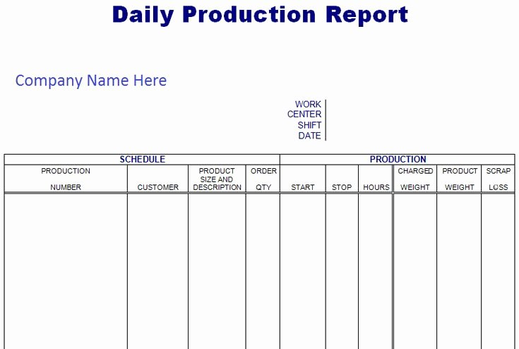 Daily Production Report Template Excel Beautiful Daily Scheduling Production Report Spreadsheet format