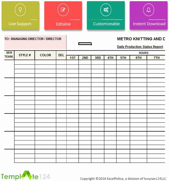 Daily Production Report Template Excel Lovely Daily Production Status Report Template Excel